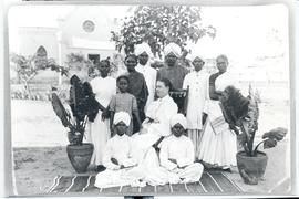 "Missionary Maria Friesen with group of ""followers"""