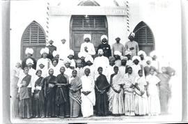Missionary Abraham Friesen with Indian believers