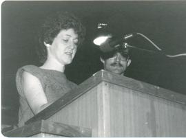 Shirley and Gerald Falk speaking