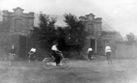 5 young people cycling on Fehderau property