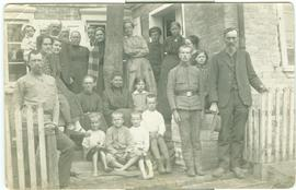 Group of Mennonite refugees at J. Rempel's Tiegenhof estate