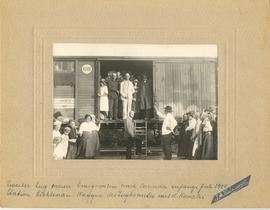 Mennonite Immigrants boarding a train in Lichtenau, Molotschna