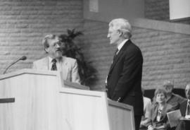 Abe Konrad and Larry Martens at the pulpit