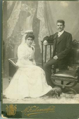 Wedding photo of Peter Dyck and his wife.