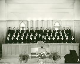 Nicholas J. Fehderau with his choir in the Kitchener MB Church