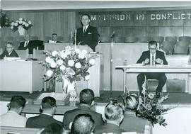 General Conference of M.B. Church, 1966, Corn, OK: F.C. Peters speaking