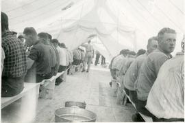 In the mess hall tent