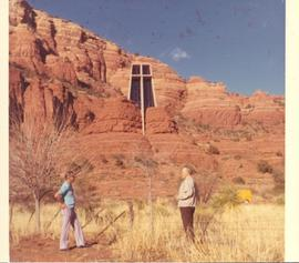 Kroeker and another man at Chapel of the Holy Cross, Sedona, Ariz