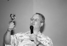 Michael Dick holds up a goblet