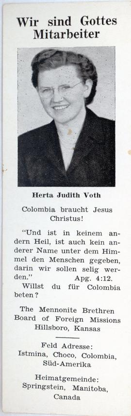 Herta Voth Missionary Prayer Card