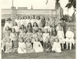 Anna Thiessen with group of children - North-End Chapel