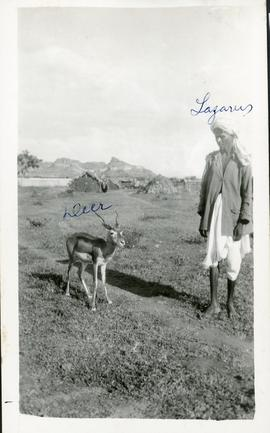 An East-Indian and a deer