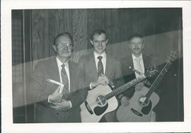 Cornie B. Loewen, left with singers Peter Wiebe and Martin Giesbrecht