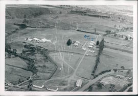 Aerial view of HCJB's transmitter site, showing the missionaries' homes