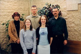 L-R,back: Jenni-Lee Sagnes, Bryan Toews, Randy Hiebert. Front: Lisa Dueck, Michelle Warkentin
