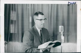 "H.P.Dyck, Pastor, speaking on ""Gospel Echoes"" on CFRY Portage every Monday"
