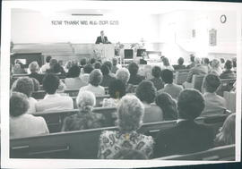 Guest speaker, Elmer Warkentin, and congregation