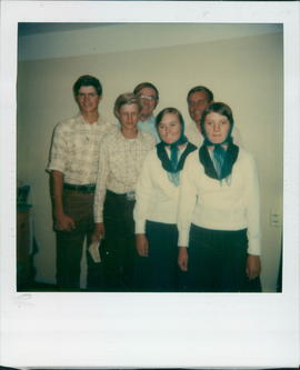 L-R: Front, Peter Stoesz, Corny Peters, Annie Wall, Mary Bartsch. Rear: Ed Friesen, Dave Eidse