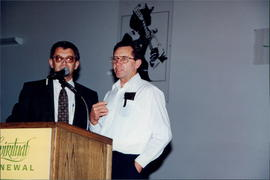 Wilbert Friesen (left) translating for Frank Friesen from Mount Salem ON church