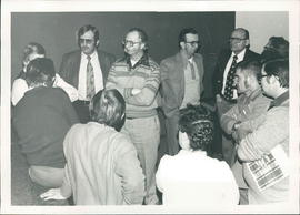 (Facing camera) Edmar Fast, Harvey Kroeker, Johnny Loewen, Henry Kornelson, Edwin Plett
