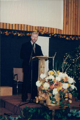 Abe Bergen, President of Steinbach Bible College, speaks
