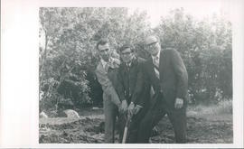 L-R: Jake L. Dueck, John Koop, Dave K. Schellenberg at ground breaking ceremony