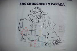 Map showing EMC churches in Canada