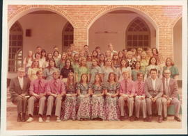 Students, graduates & faculty at Bible School. Front row, teachers Ben Hoeppner, left, Abram ...