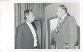 Abram Wiebe, Paraguay, on left with Dr. Frank C. Peters, main speaker