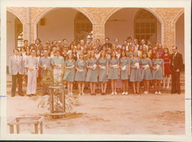 Students at Menno Colony Bible School.  Jasch Giesbrecht, extreme right