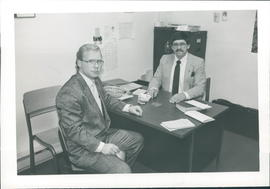 John Warkentin, right, Sunday School Superintendent and assistant Vern Esau