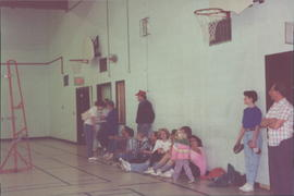 Recreation in the Gym; Ann Knelsen, La Crete, standing in foreground