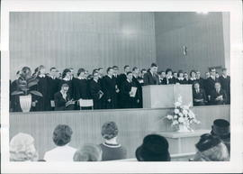 1967 Graduating Class being introduced by President Harvey Plett