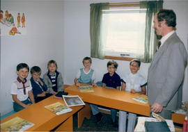 Richard Friesen teaching a Sunday School Class