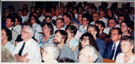Audience at a session. Front: Henrietta & Ben Friesen, Mrs. & Mr. Peter Reimer