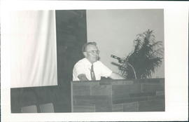"Radio pastor Cornie B. Loewen, preaches at dedication of ""De Goode Norecht"" radio studio"
