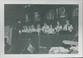 A handbell choir performs