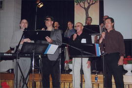 Eight Singing Men (front) Kevin Peters, __, Bernie Thiessen, Wayne Reimer (back) Harold Thiessen, Terry Scales, __. __)