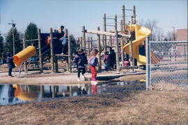 Children on play structure at Southwood School