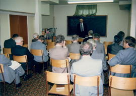 George Neufeld teaching a Sunday School class