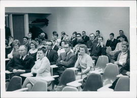 Audience: Mr. & Mrs. Pete Thiessen, front row; John & Leona Kornelson behind them