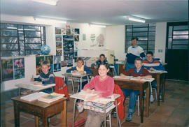A class at Gramado Christian Academy with teacher Peter Hiebert (?).Marvin Thiessen report