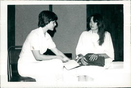 "Nurse Geralyn Reimer with ""patient"" Hope Wiebe in one of the skits"