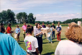Vivian Loewen leading outdoor activities at Youth Explosion - 2 photos