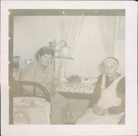 Elvina Goossen, left, and Mrs. C. B. Loewen, residents