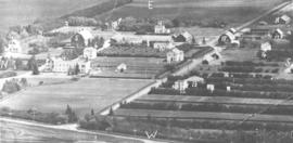 Aerial view of the Mennonite Youth Farm in Rosthern, Saskatchewan