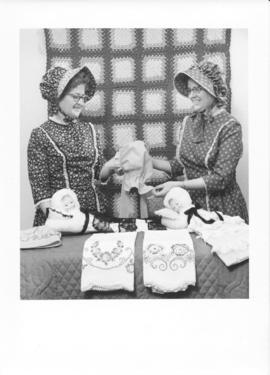 Alice Snyder & Pearl Cressman in centennial costume with sunbonnets