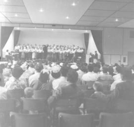 Audience seated in the auditorium at Canadian Mennonite Bible College, 1956