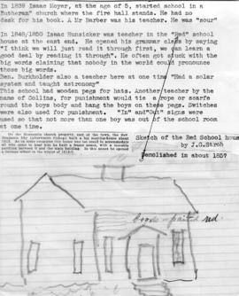 "A sketching of the ""Red"" school house by J.G."