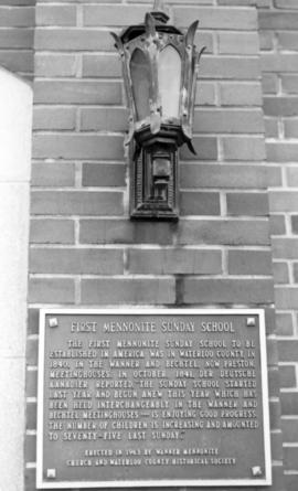 Historic plaque of first Mennonite Sunday School